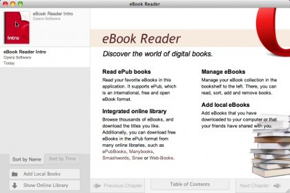 Download free eBook Reader for OPERA for macOS
