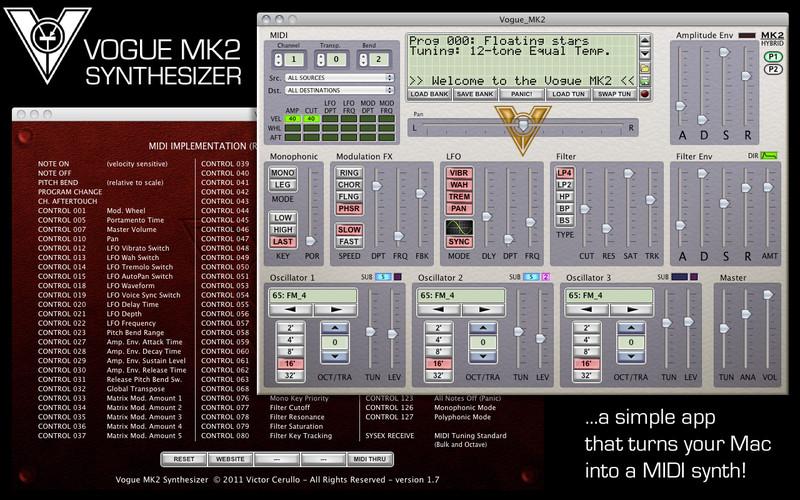 Vogue MK2 Synthesizer screenshot