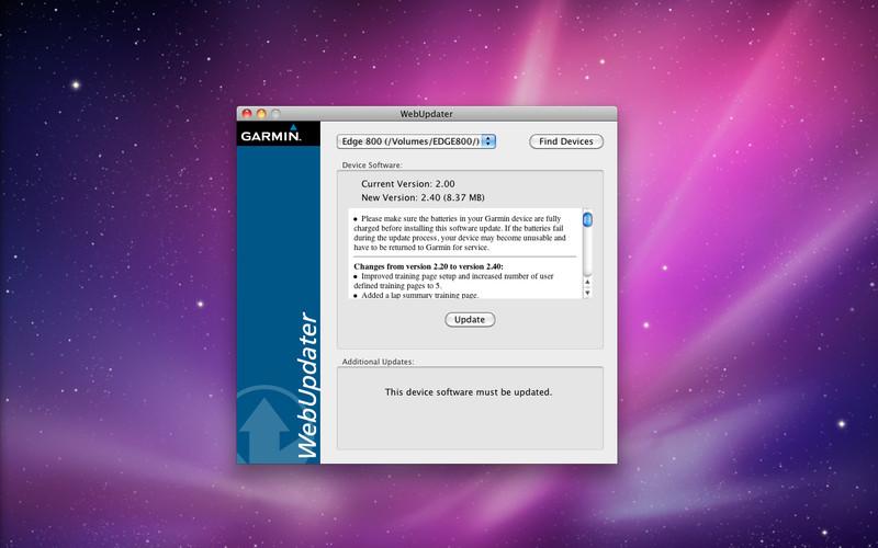 Garmin WebUpdater screenshot