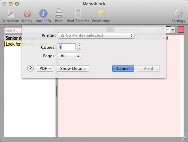 Printing Note
