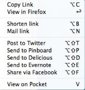 Share Link menu