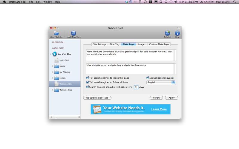 SEO Tool for iWeb screenshot