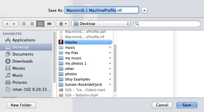 Exporting Mac Technical Profile
