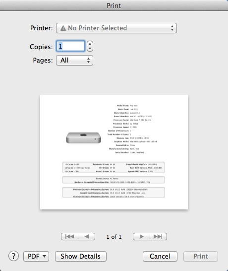 Printing Mac Technical Profile