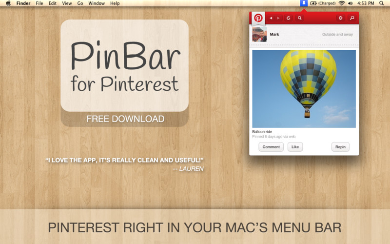 PinBar for Pinterest screenshot