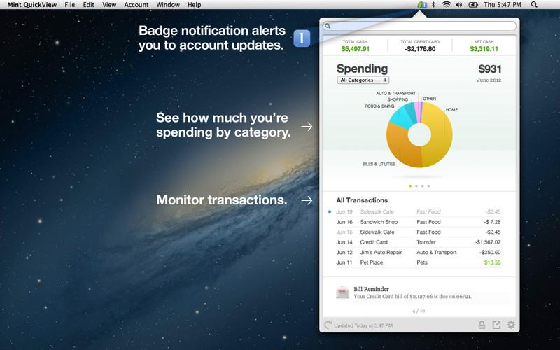 Mint QuickView screenshot