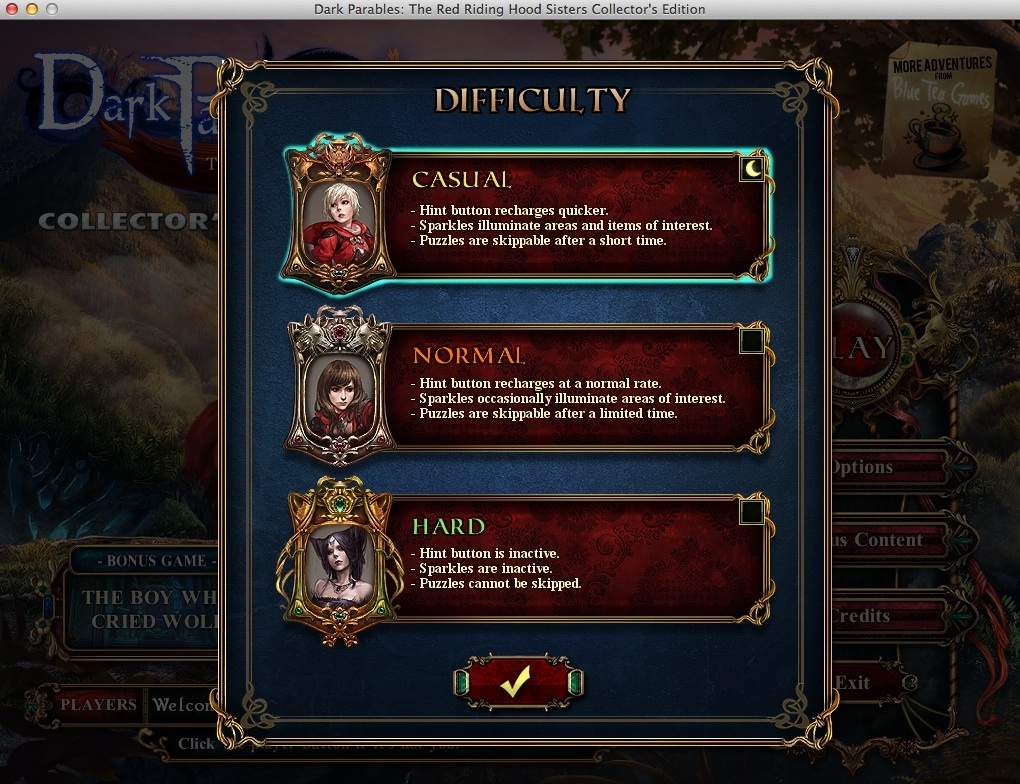 Selecting Game Difficulty