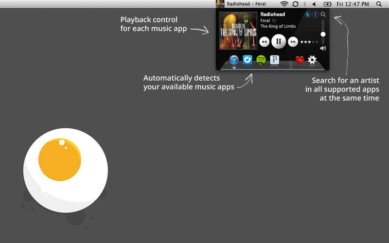 Music Control for iTunes, Spotify, Rdio and Personalized Internet Radio screenshot