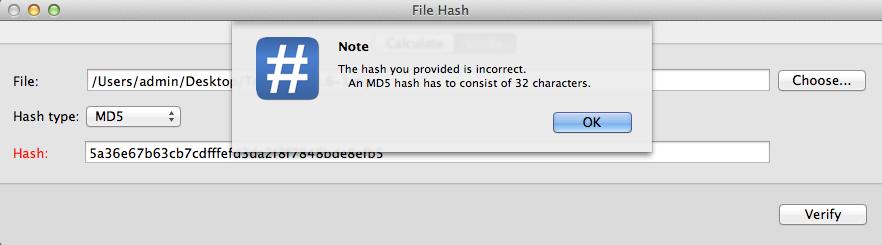 Hash verification