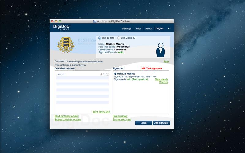DigiDoc3 Client screenshot