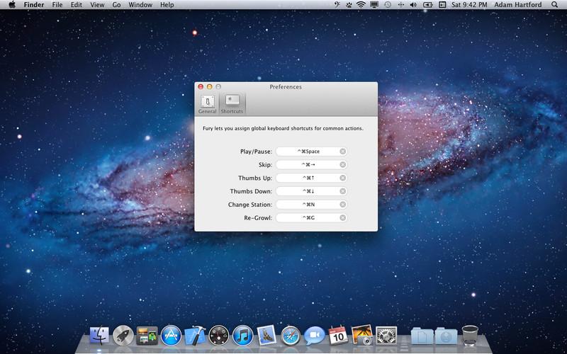 Fury - Pandora Menu Bar screenshot