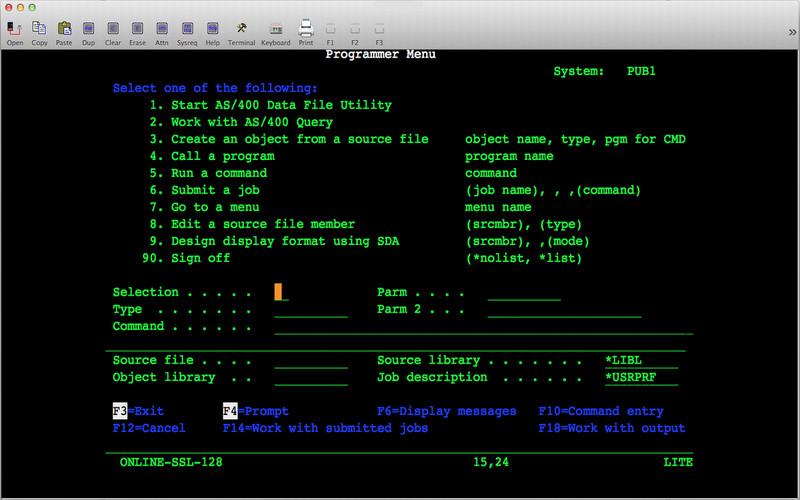 Mocha TN5250 Lite screenshot
