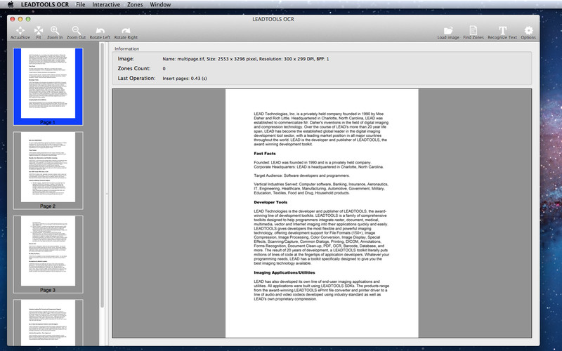 LEADTOOLS OCR screenshot