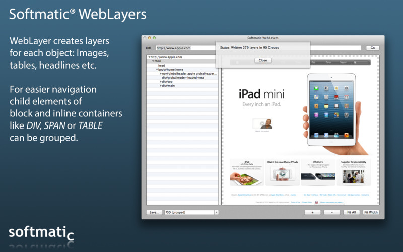 Softmatic WebLayers screenshot