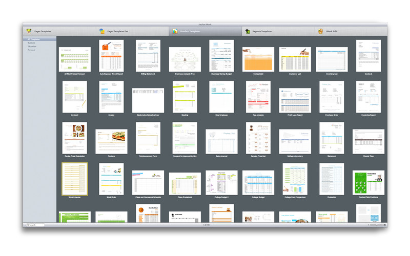 Set for iWork screenshot