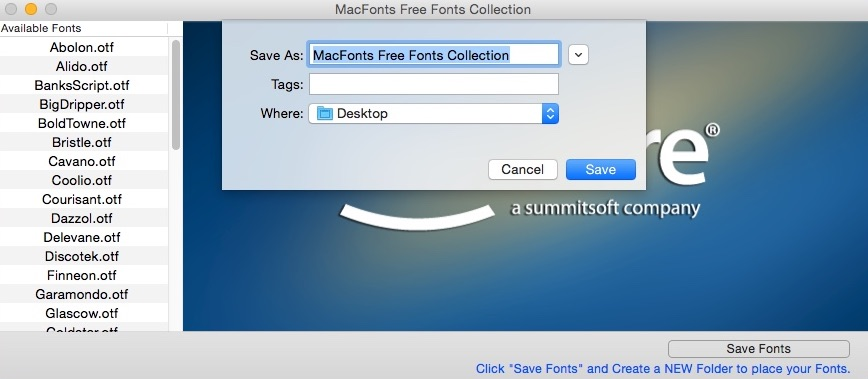 Selecting Destination Folder For Font Collection
