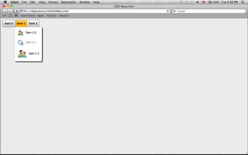 CSS3 Menu screenshot