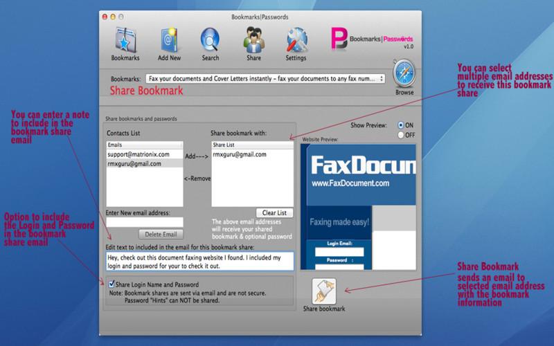 Bookmarks|Passwords screenshot