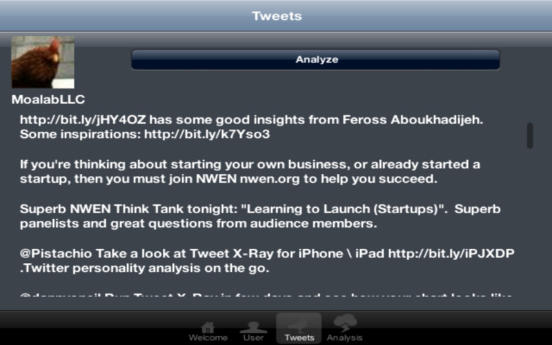 Tweet X-Ray - A Twitter personality and interests analysis tool screenshot