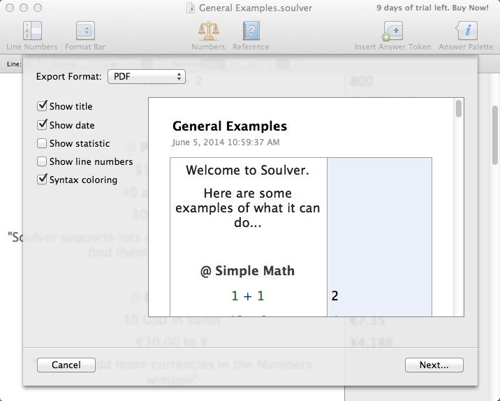Exporting Calculations