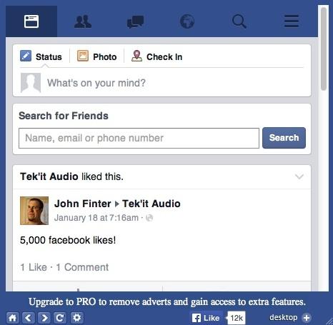 Mobile Facebook View Mode