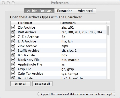 Selecting Supported File Formats