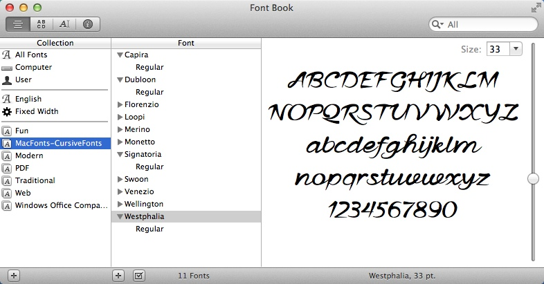 Checking Installed Fonts Within Font Book App