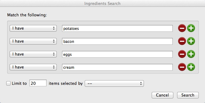 Ingredients Search