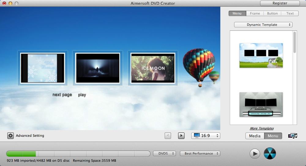 Selecting DVD Menu