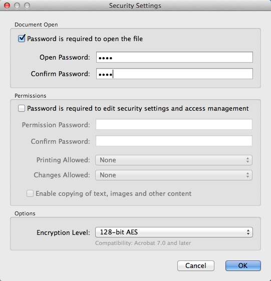 Configuring PDF Security Settings