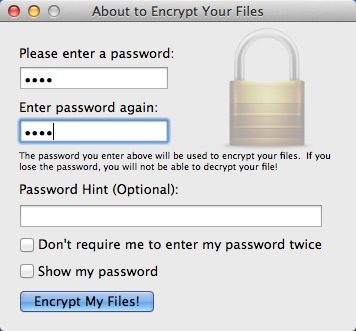 Entering Access Password For Encryption