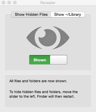 Enabled Reveal Hidden Files Window