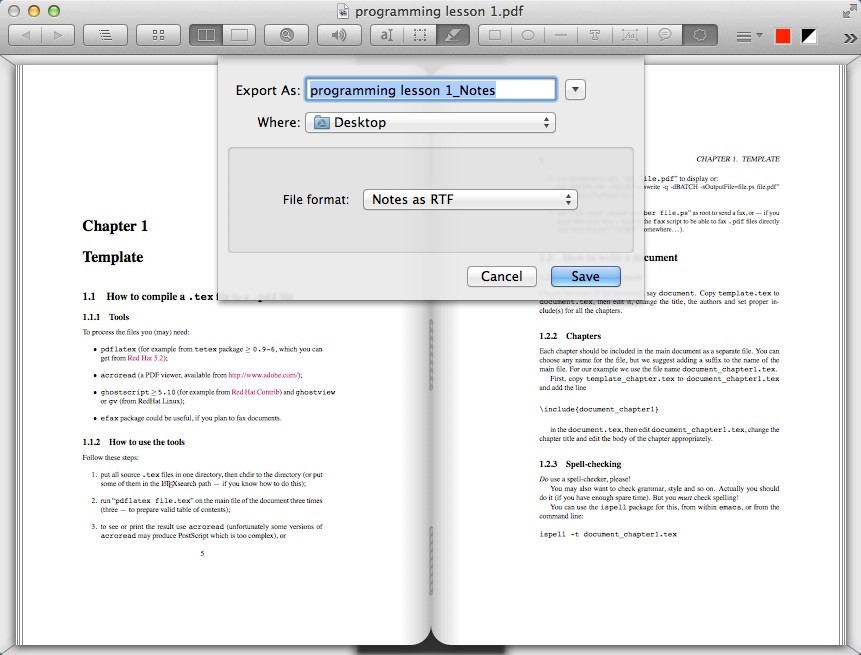 Exporting PDF Notes