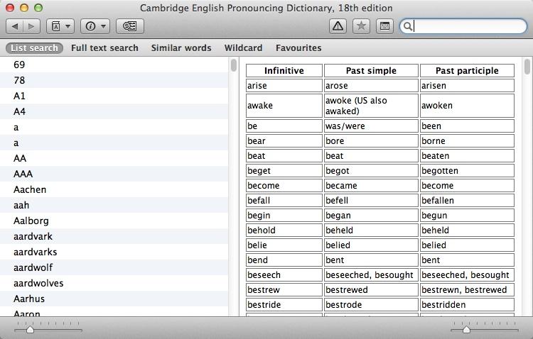 Checking Irregular Verbs Table