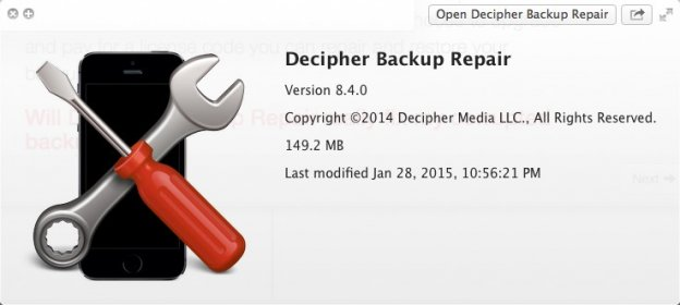 Download free Decipher Backup Repair 8 4 for macOS