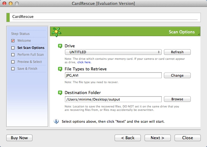 Configuring Scan Options
