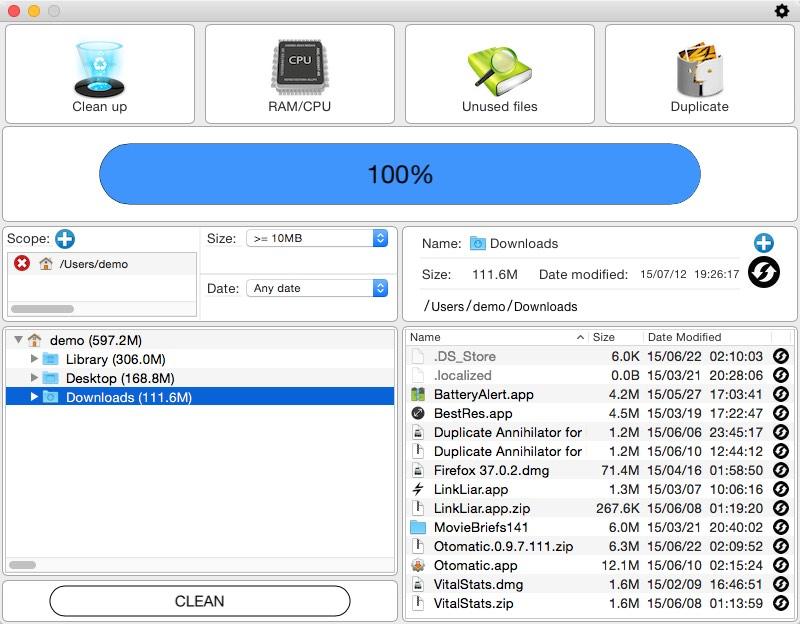 Unused Files Window
