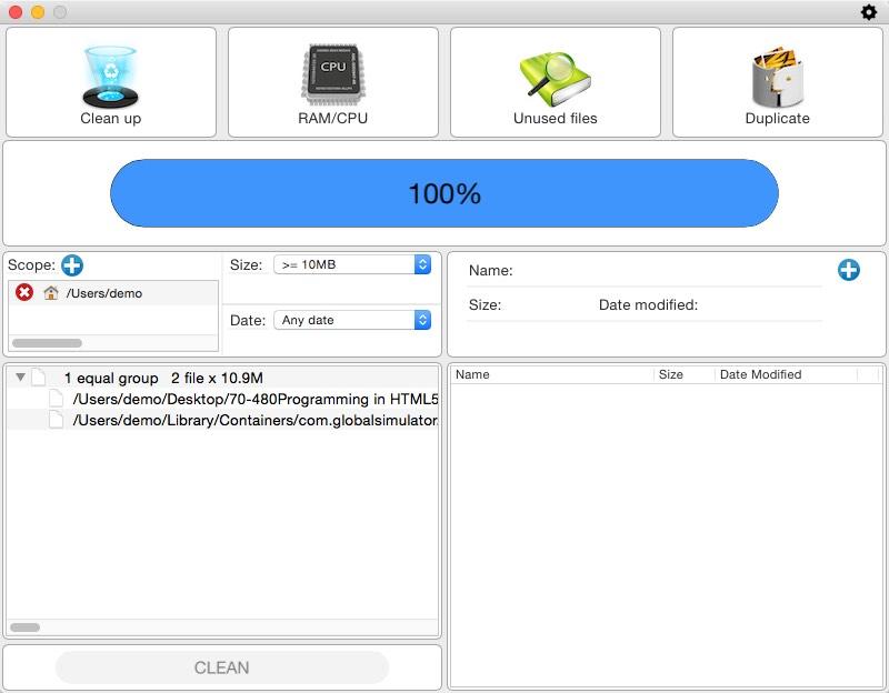 Duplicate Files Window
