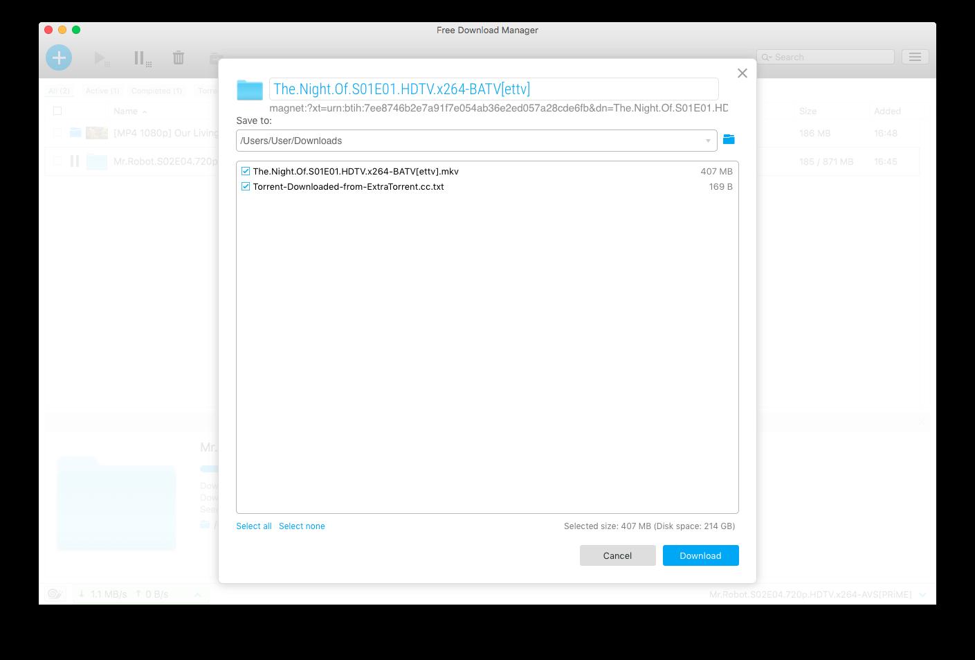 Torrent Download window