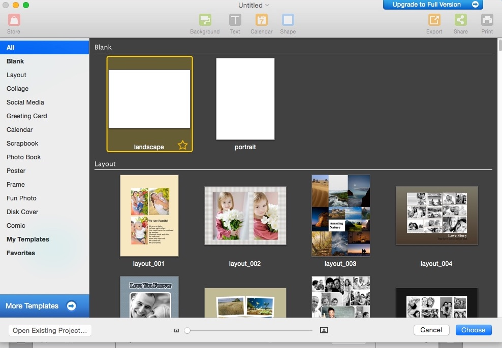 Selecting Project Template