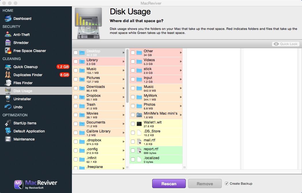 Disk Usage Window