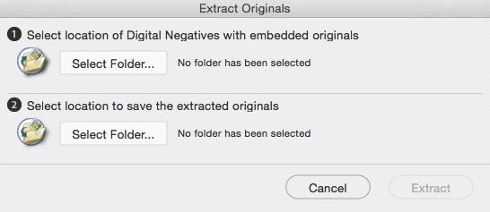 Extract Originals Window