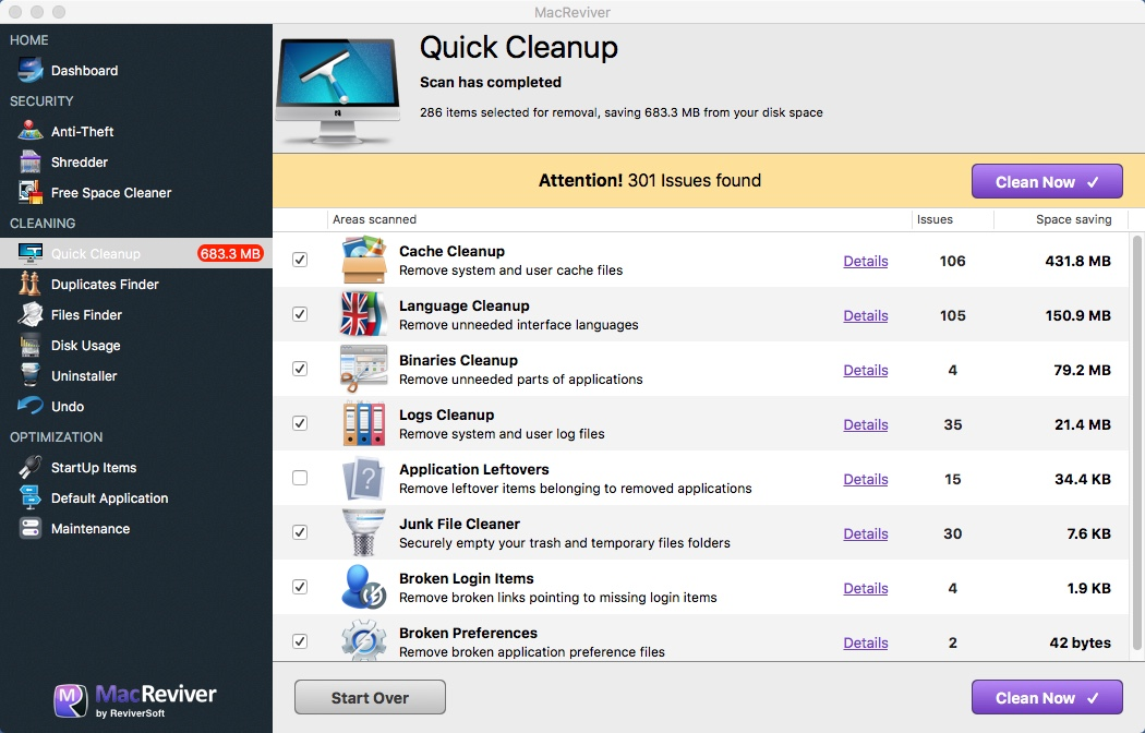 Quick Cleanup Window