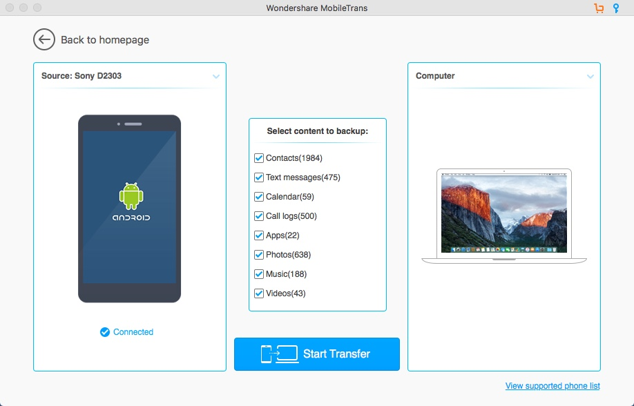 Selecting Android Device Data For Backup