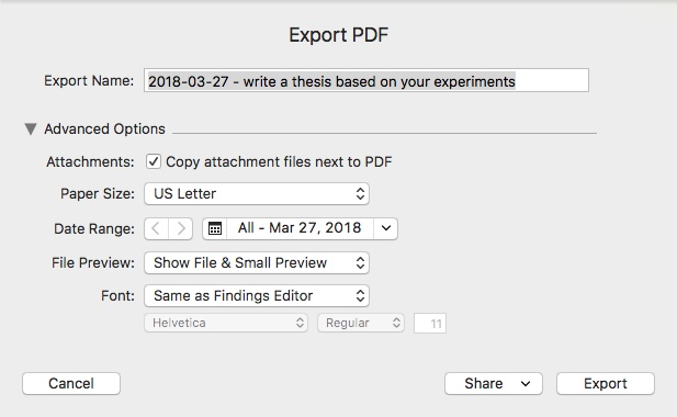 Exporting Research Data