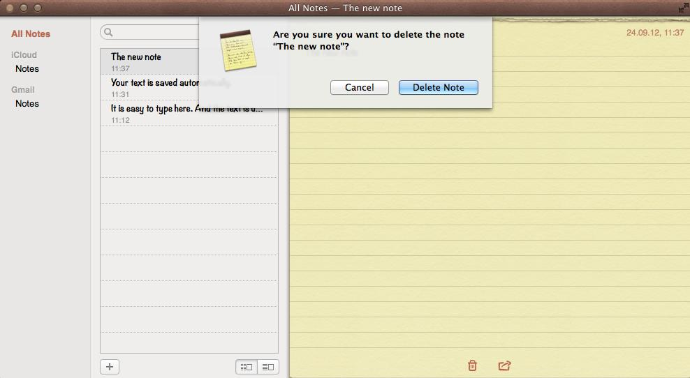 Deleting a Note