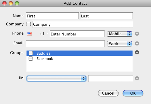 Add Contact Card