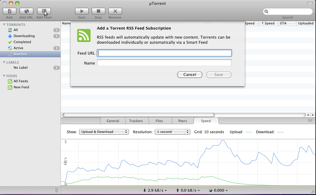 Adding an RSS feed in μTorrent