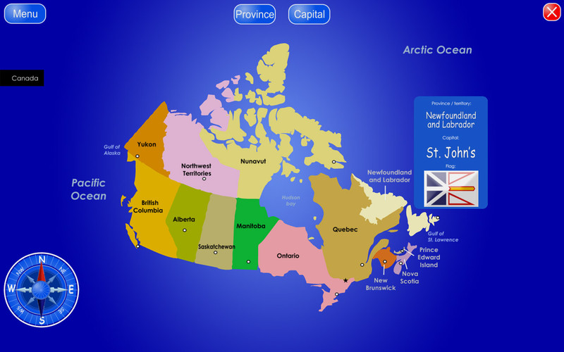 Provinces and Territories of Canada screenshot