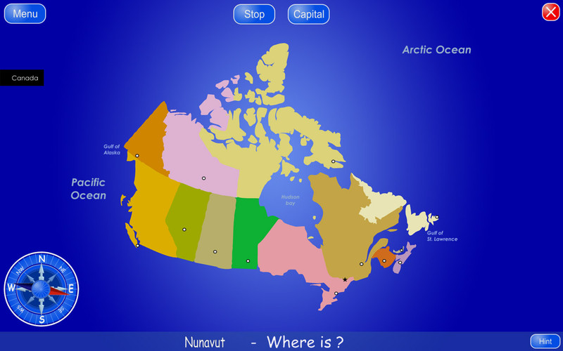 Provinces and Territories of Canada screenshot